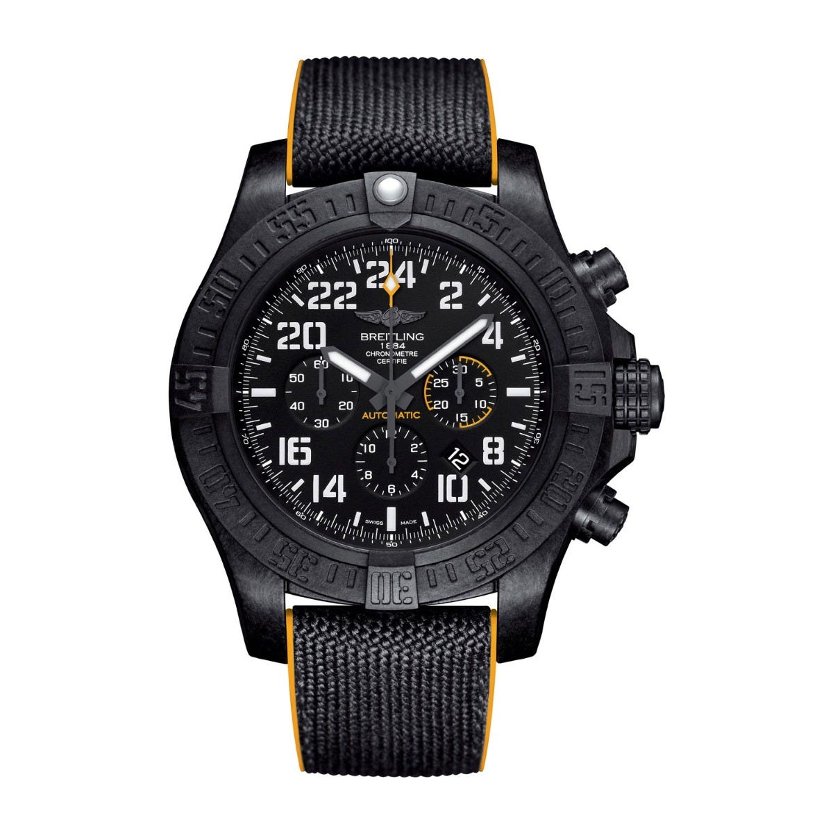 Breitling Avenger Hurricane Men's Yellow and Black Strap Watch
