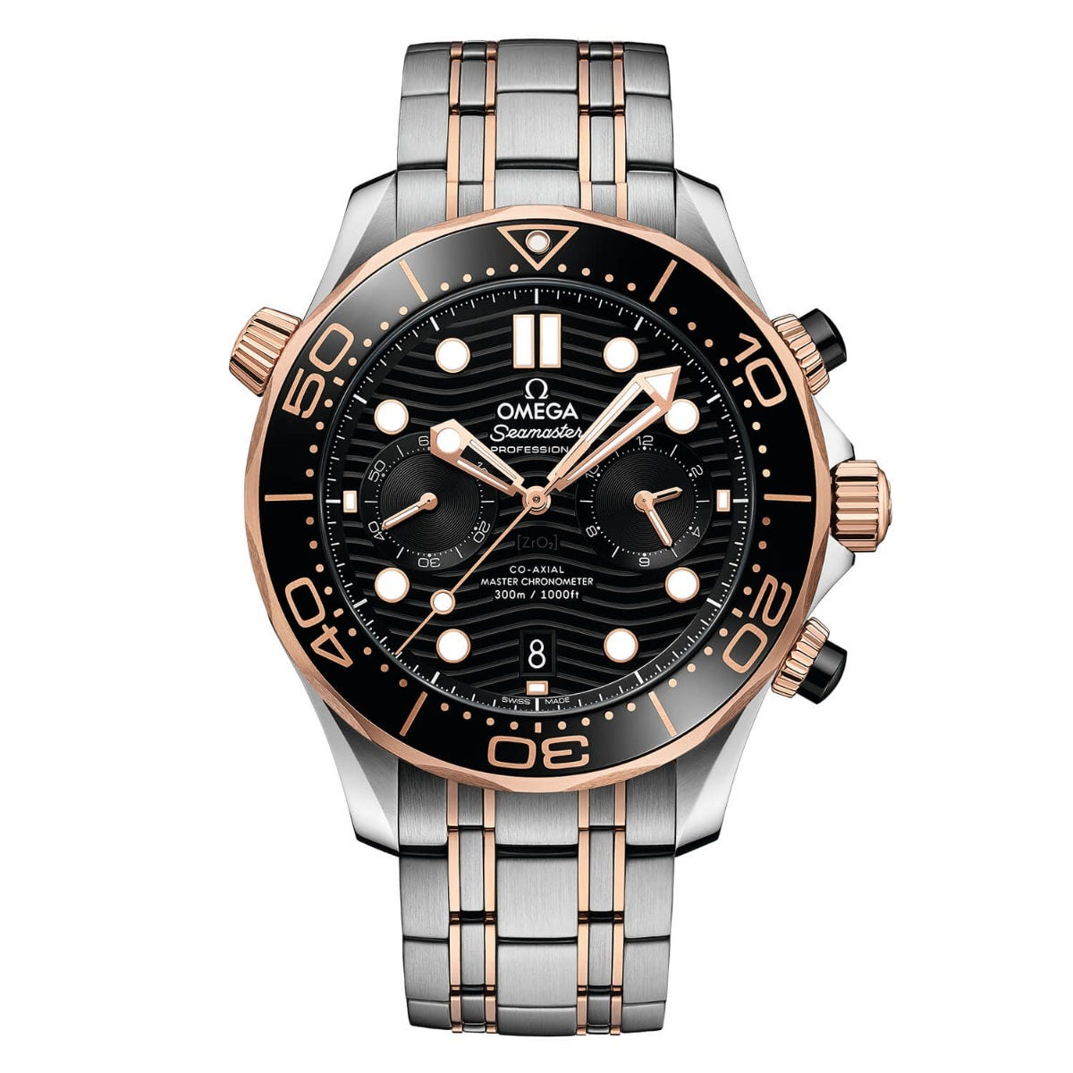 Omega Seamaster Diver 300 Chrono Black Dial Mens Silver/Rose Gold Bracelet Watch