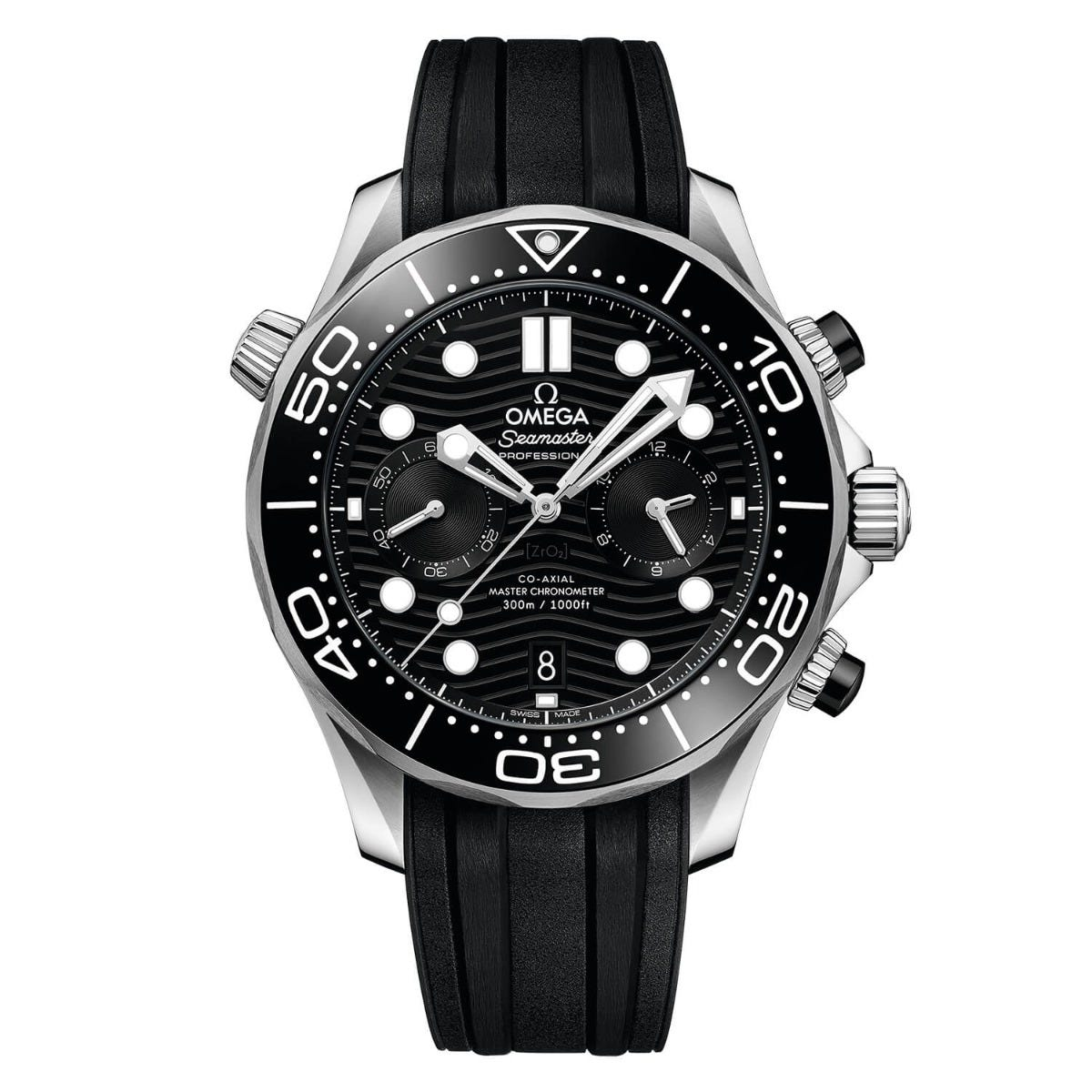 Omega Seamaster Diver 300 Chrono Black Dial Mens Black Strap Watch