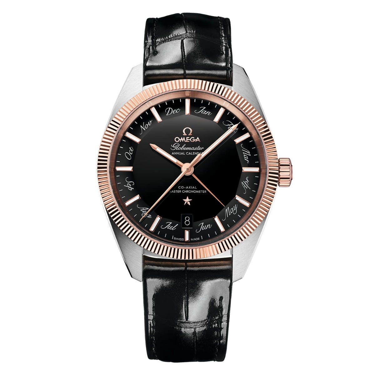 Omega Constellation Globemaster Black Dial With Rose Gold Mens Watch