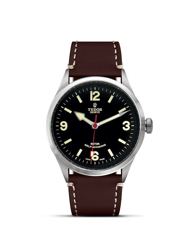 Tudor Heritage Ranger mens' automatic stainless steel and brown leather strap watch