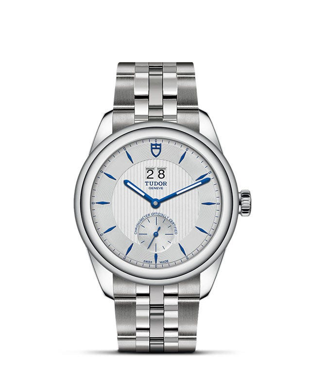 Tudor Glamour Double Date Silver & Blue 42mm Men's Watch