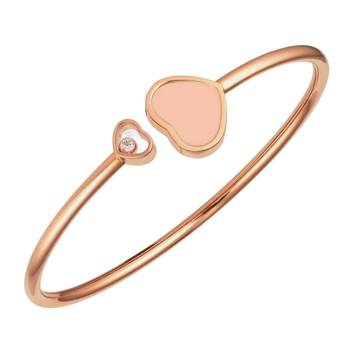 Chopard 18ct Rose Gold Pink Happy Heart Diamond Bangle