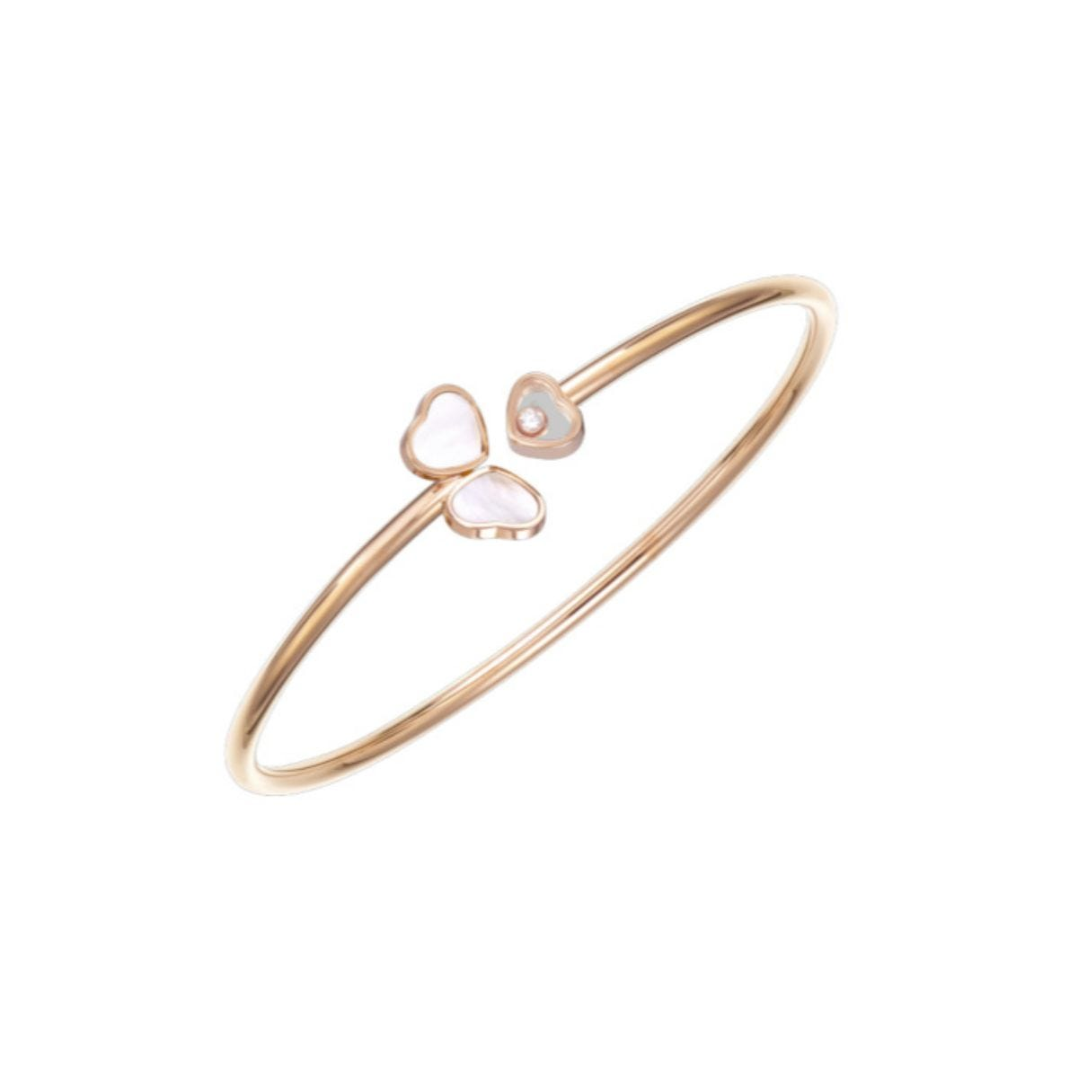 Chopard Ladies Happy Hearts 18ct Rose Gold Mother of Pearl Diamond Bangle