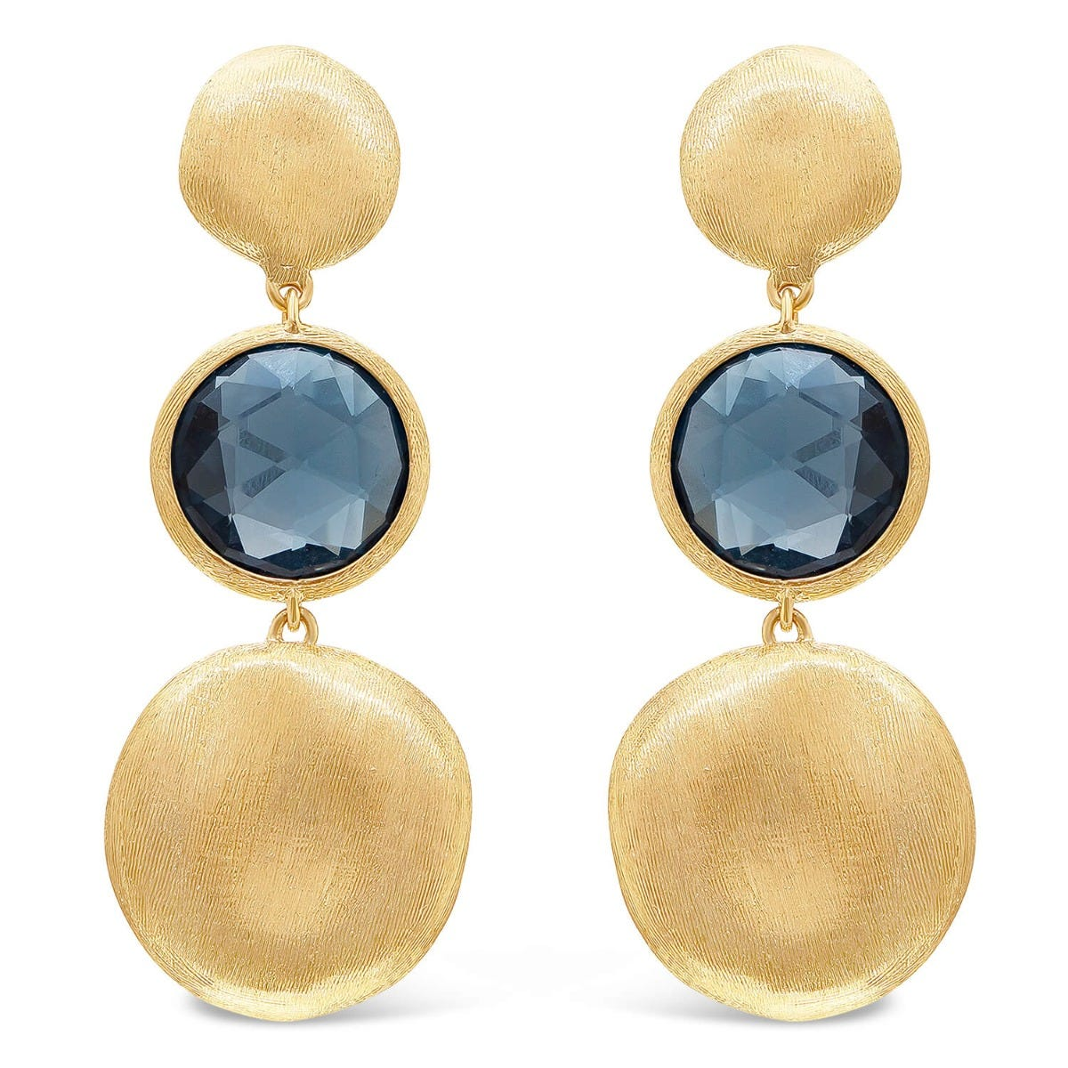 Marco Bicego Jaipur 18ct Yellow Gold Blue Topaz Drop Earrings
