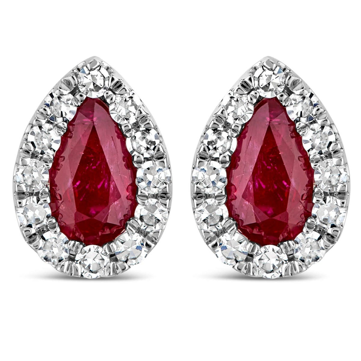 9ct White Gold 0.15ct Diamond and Ruby Pear Stud Earrings