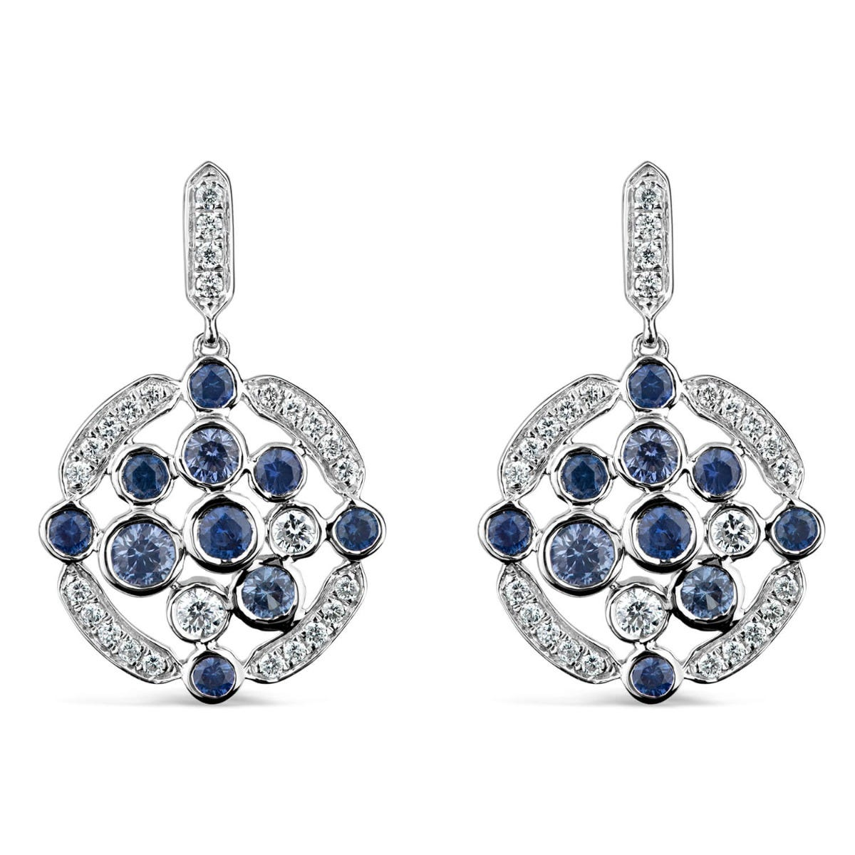 18ct White Gold 0.33ct Diamond And Sapphire Bubbles Drop Earrings