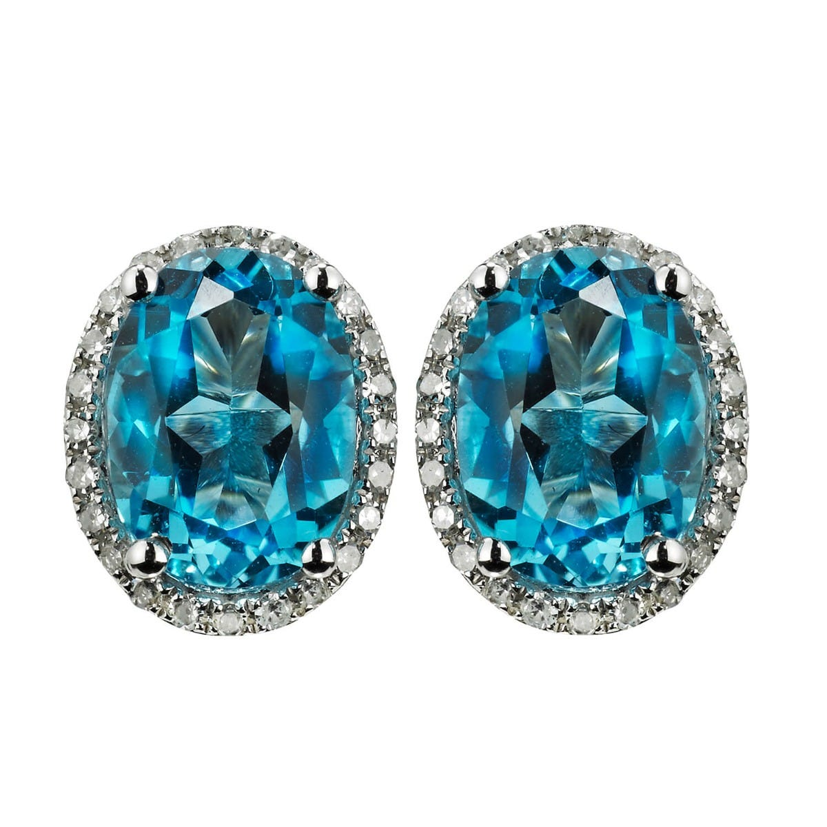 9ct white gold blue topaz and 0.18 carat diamond stud earrings