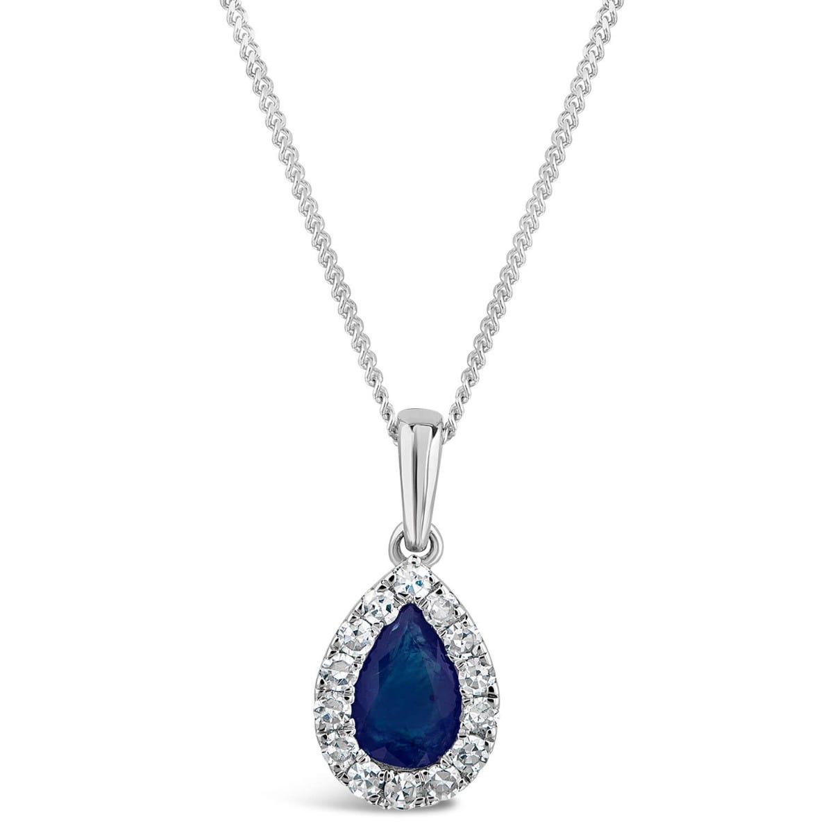 9ct White Gold Diamond and Sapphire Pear Halo Pendant
