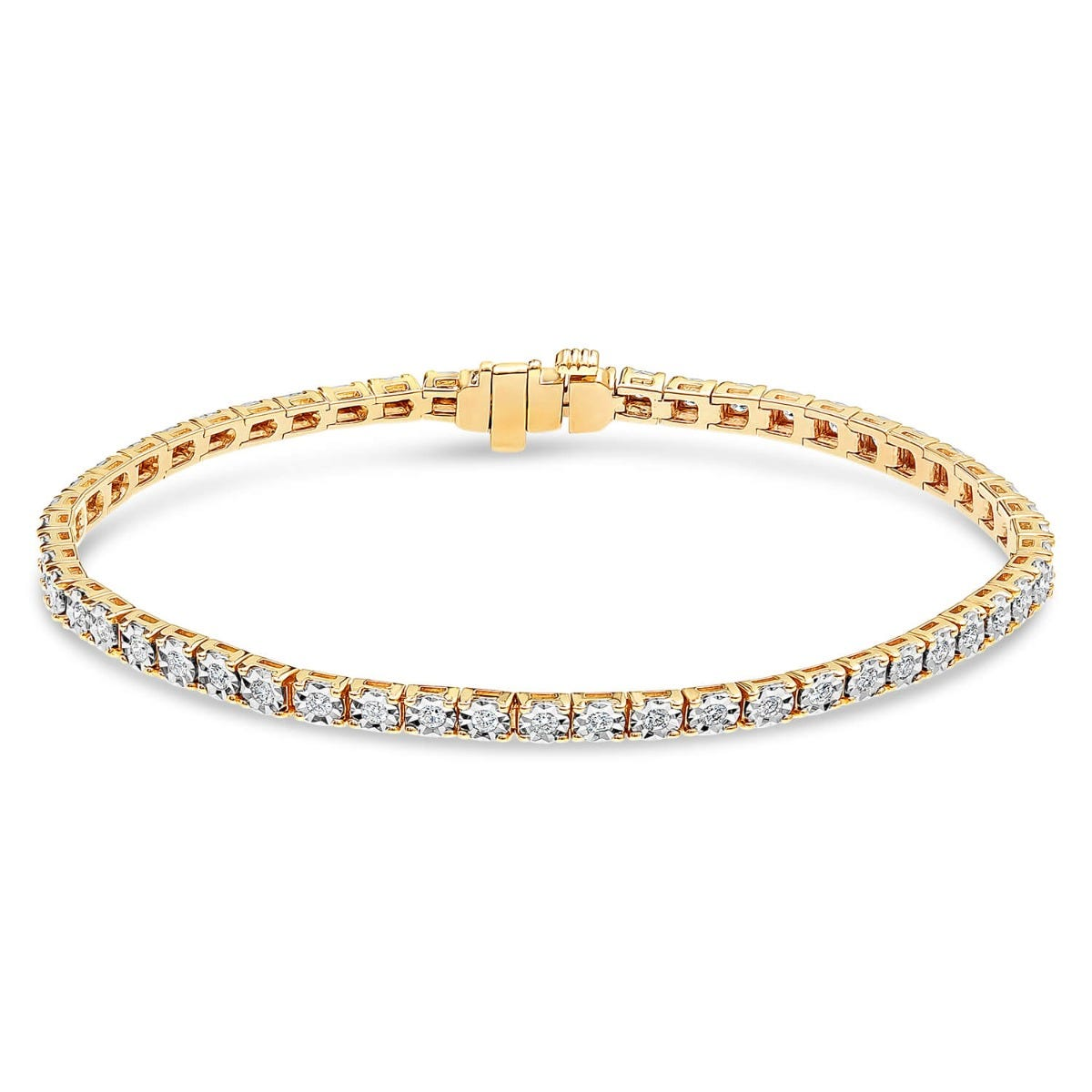 9ct Yellow Gold 1.00ct Diamond Tennis Bracelet