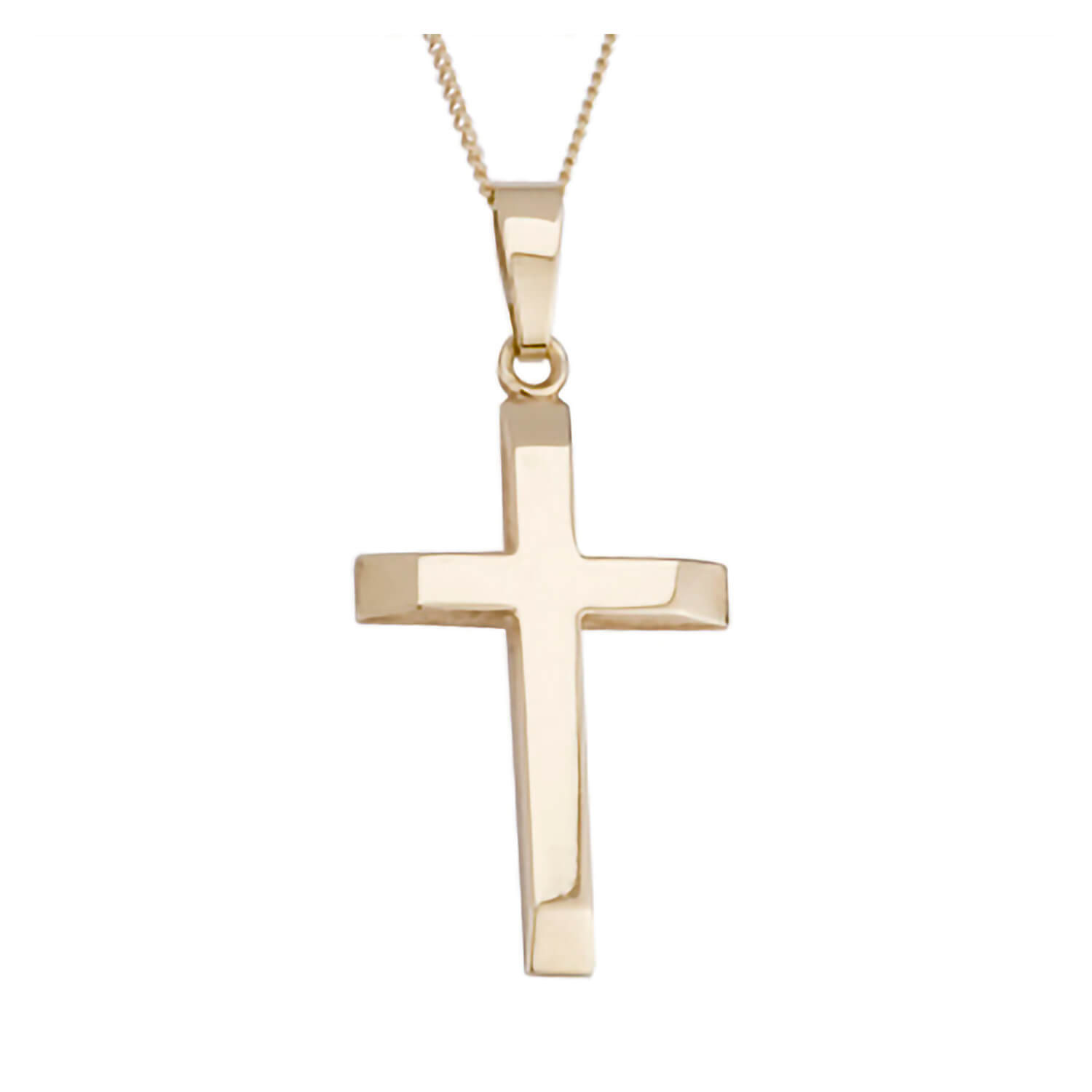 9ct gold bevelled edge cross