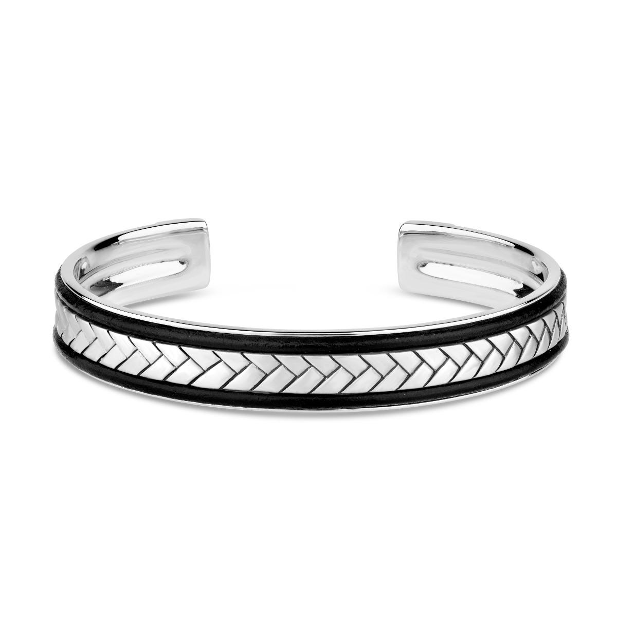 Gents Sterling Silver & Black Plaited Leather Cuff