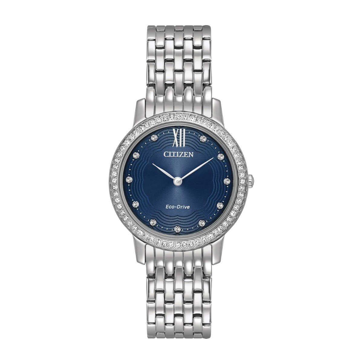 Citizen Eco-Drive Blue Dial and Swarovski Crystal Set Ladies Bracelet Watch