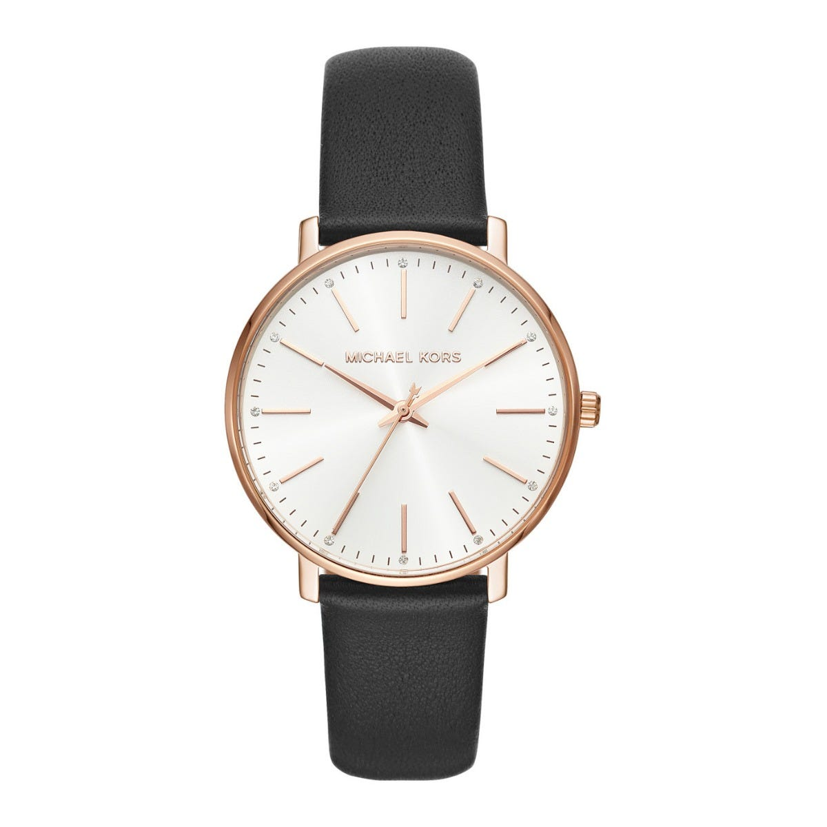 Michael Kors Pyper Minimalist Black Leather Strap Ladies Watch