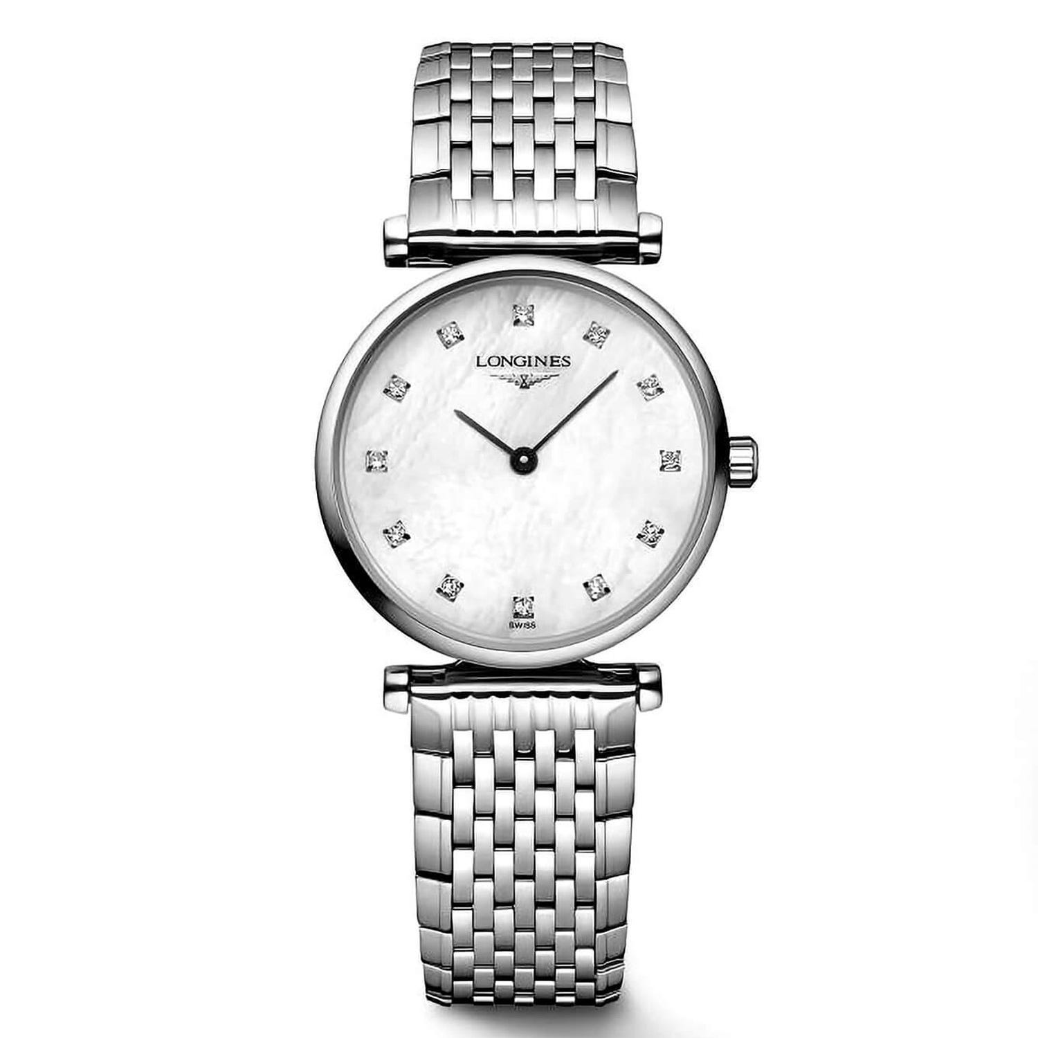 Longines La Grande Classique ladies' stainless steel diamond-set mother of pearl watch