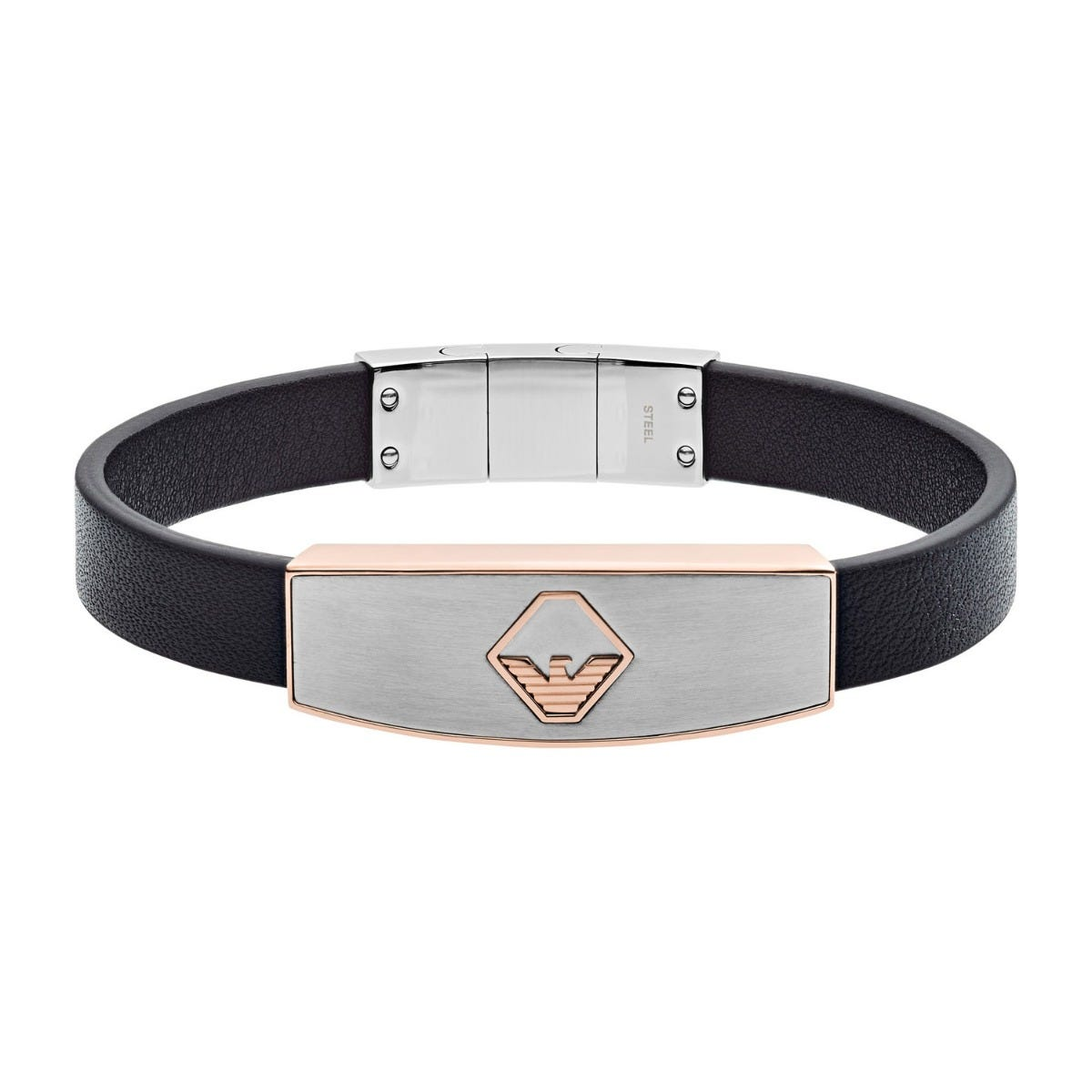 Emporio Armani Stainless Steel Leather Mens Bracelet