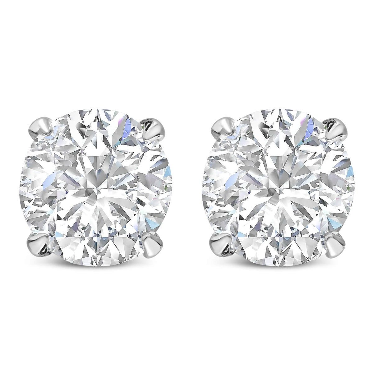 CARAT* London 9ct White Gold 5.25mm Brilliant Cut 4-Prong Stud Earrings