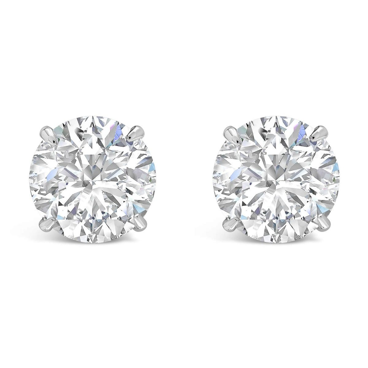 CARAT* London 9ct White Gold 6.5mm Brilliant Cut 4-Prong Stud Earrings
