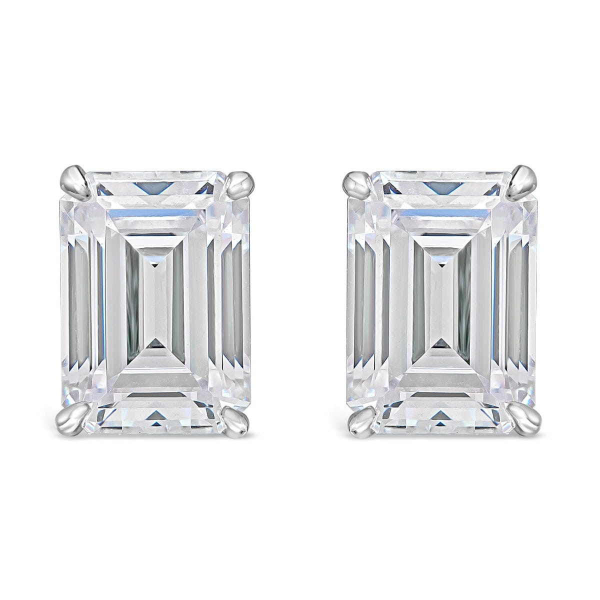 CARAT* London 9ct White Gold Emerald Cut Stud Earrings