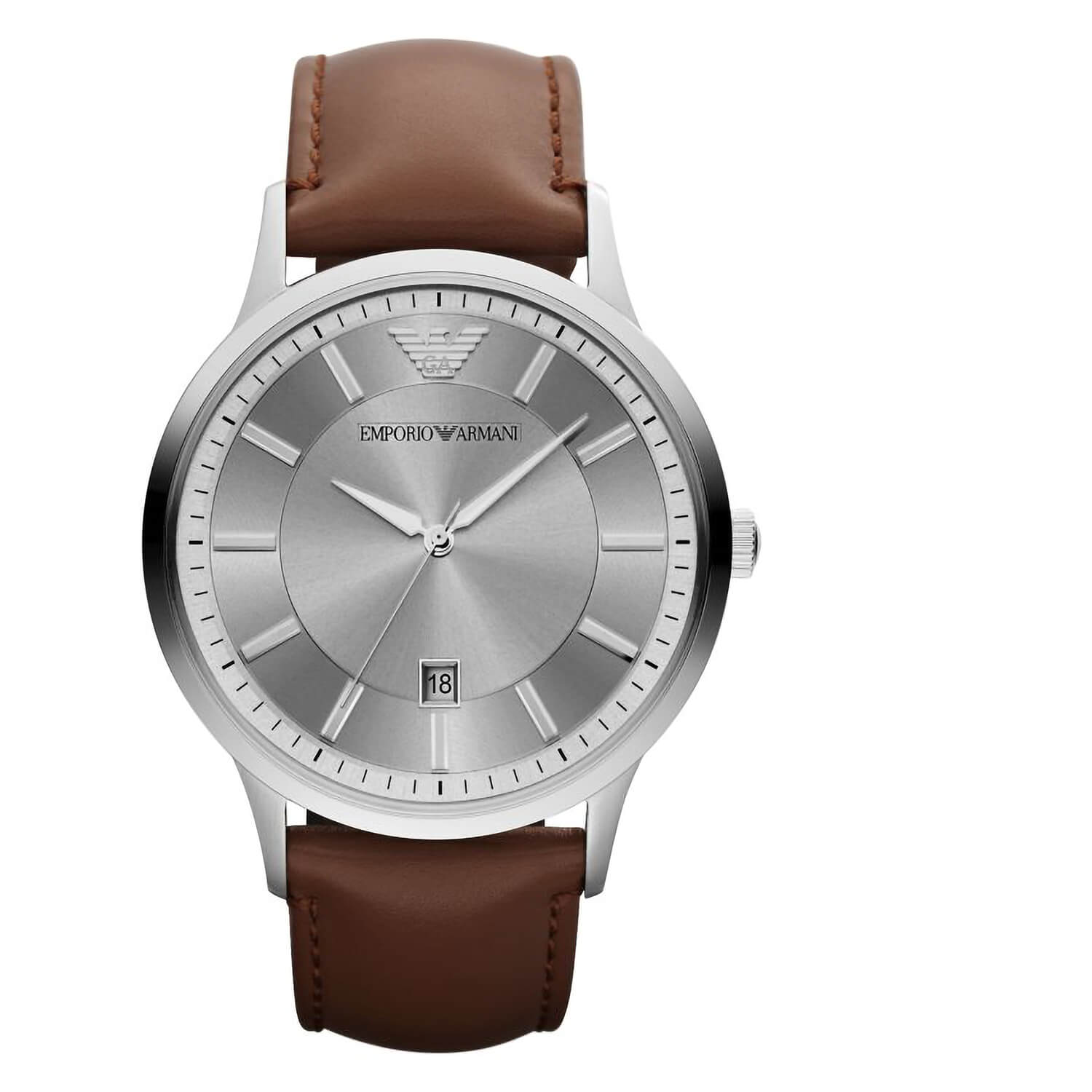 Emporio Armani Renato Silver Dial Steel Case Brown Strap Watch