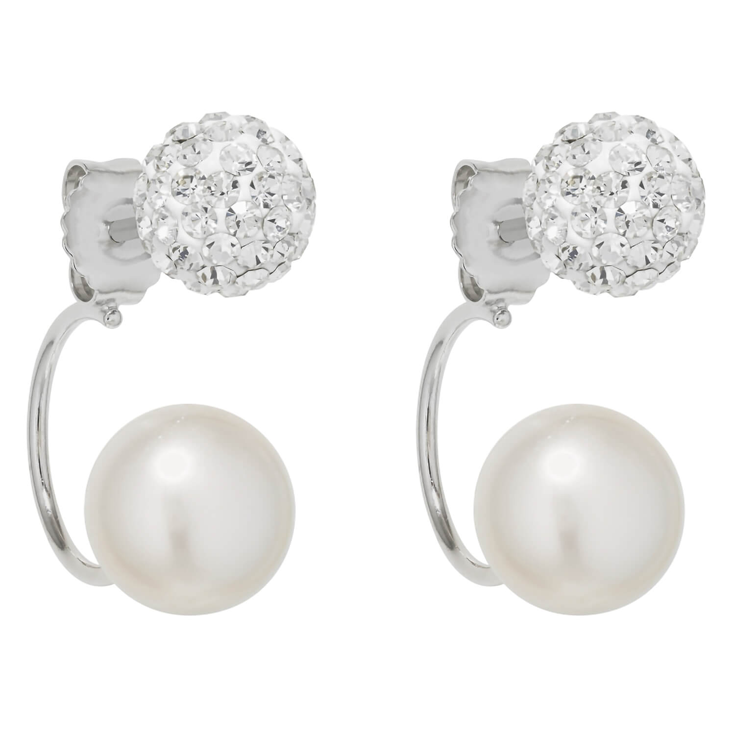 Silver freshwater cultured pearl and crystal drop earrings