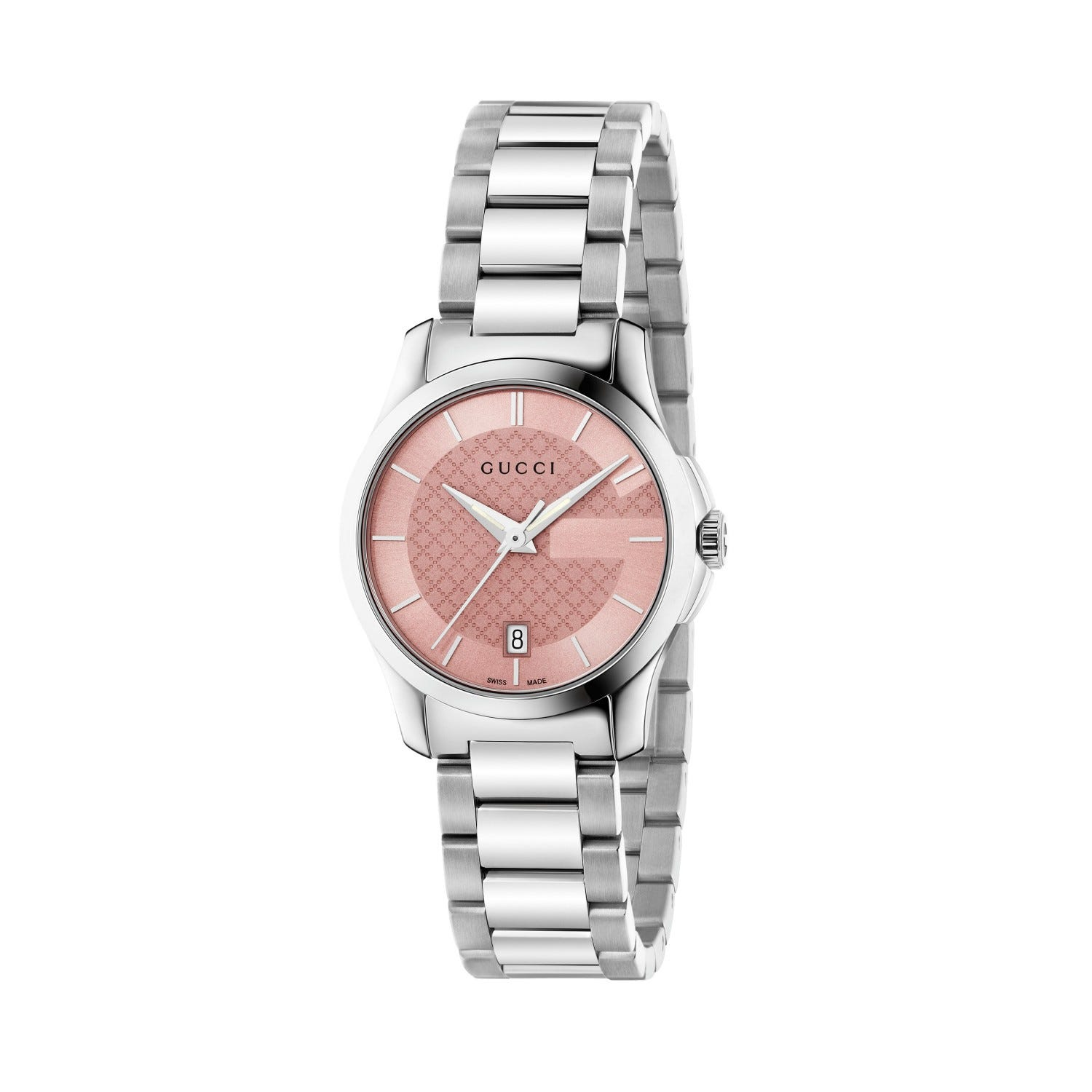 Gucci G-Timeless ladies' pink dial stainless steel bracelet watch