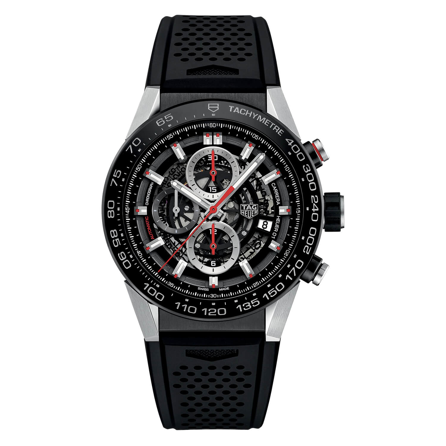 TAG Heuer Carrera Automatic Chronograph  Calibre Heuer 01 men's black skeleton strap watch