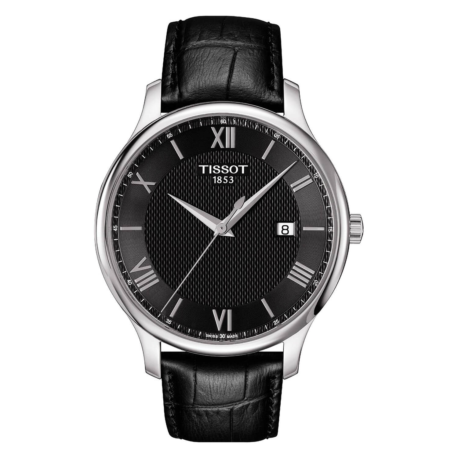 Tissot Tradition men's black leather strap watch