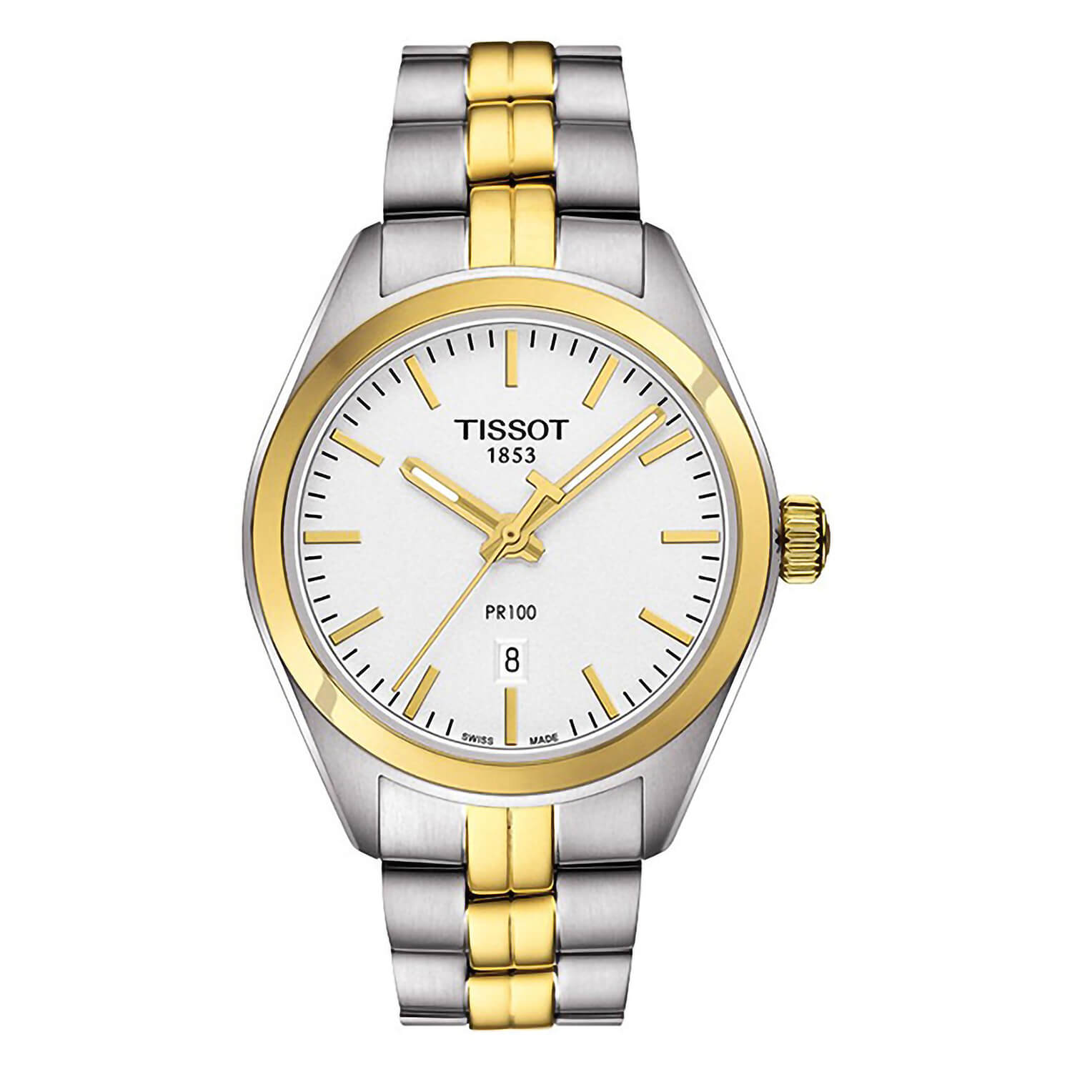 Tissot PR 100 ladies' white dial two-tone bracelet watch