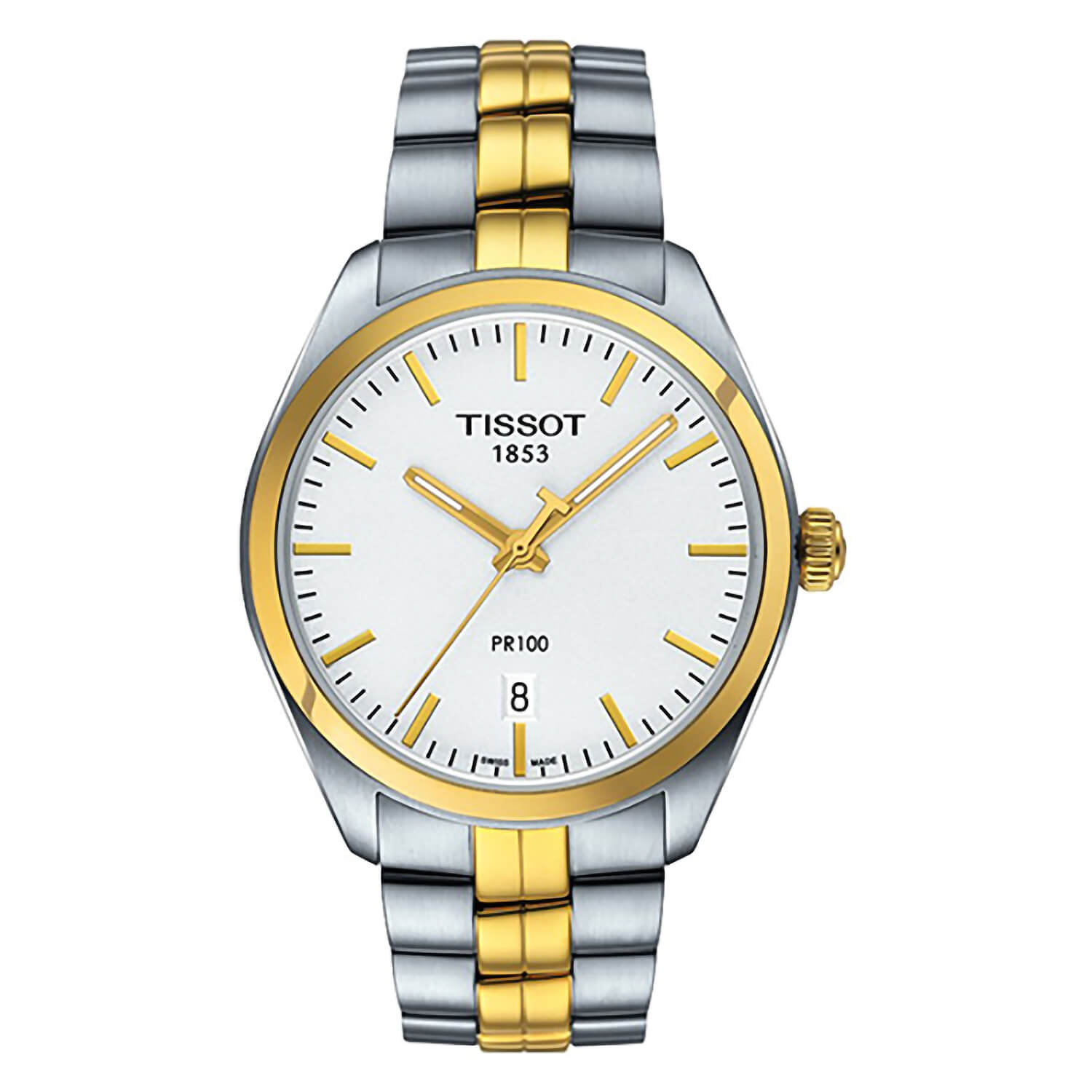 Tissot PR 100 men's white dial two-tone bracelet watch