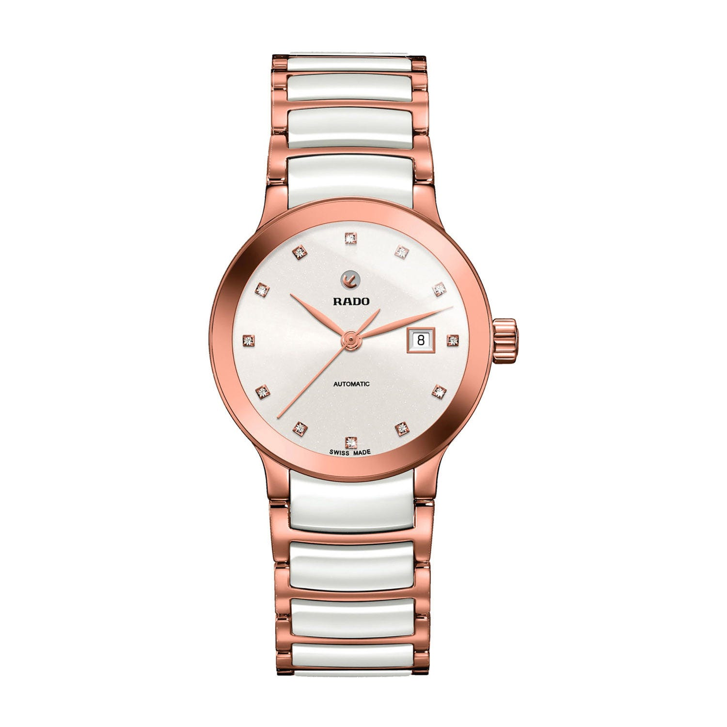 Rado Centrix ladies' automatic diamond-set rose gold-tone and white ceramic bracelet watch