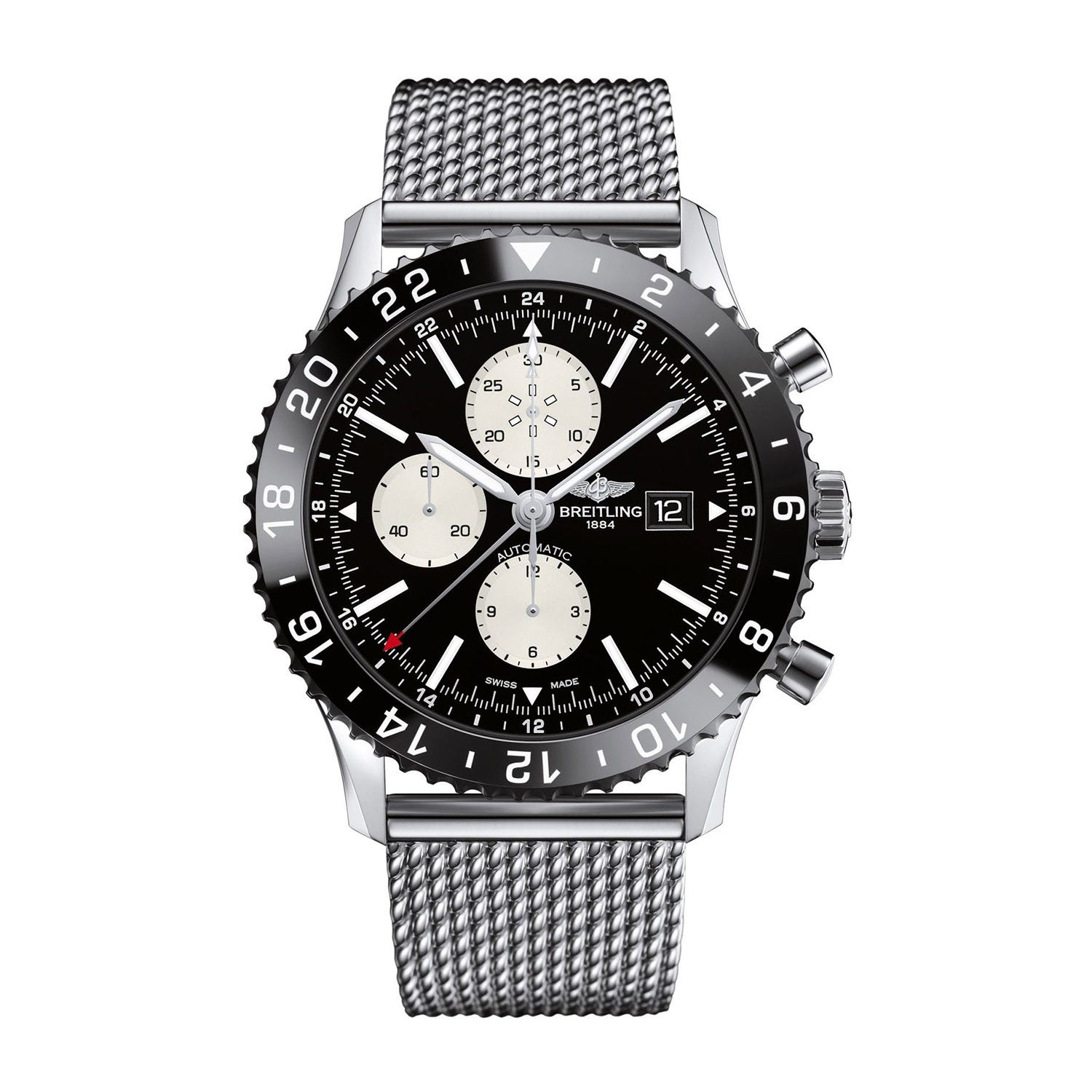 Breitling Chronoliner 46mm automatic chronograph black dial with white sub dials on a steel case and  bracelet