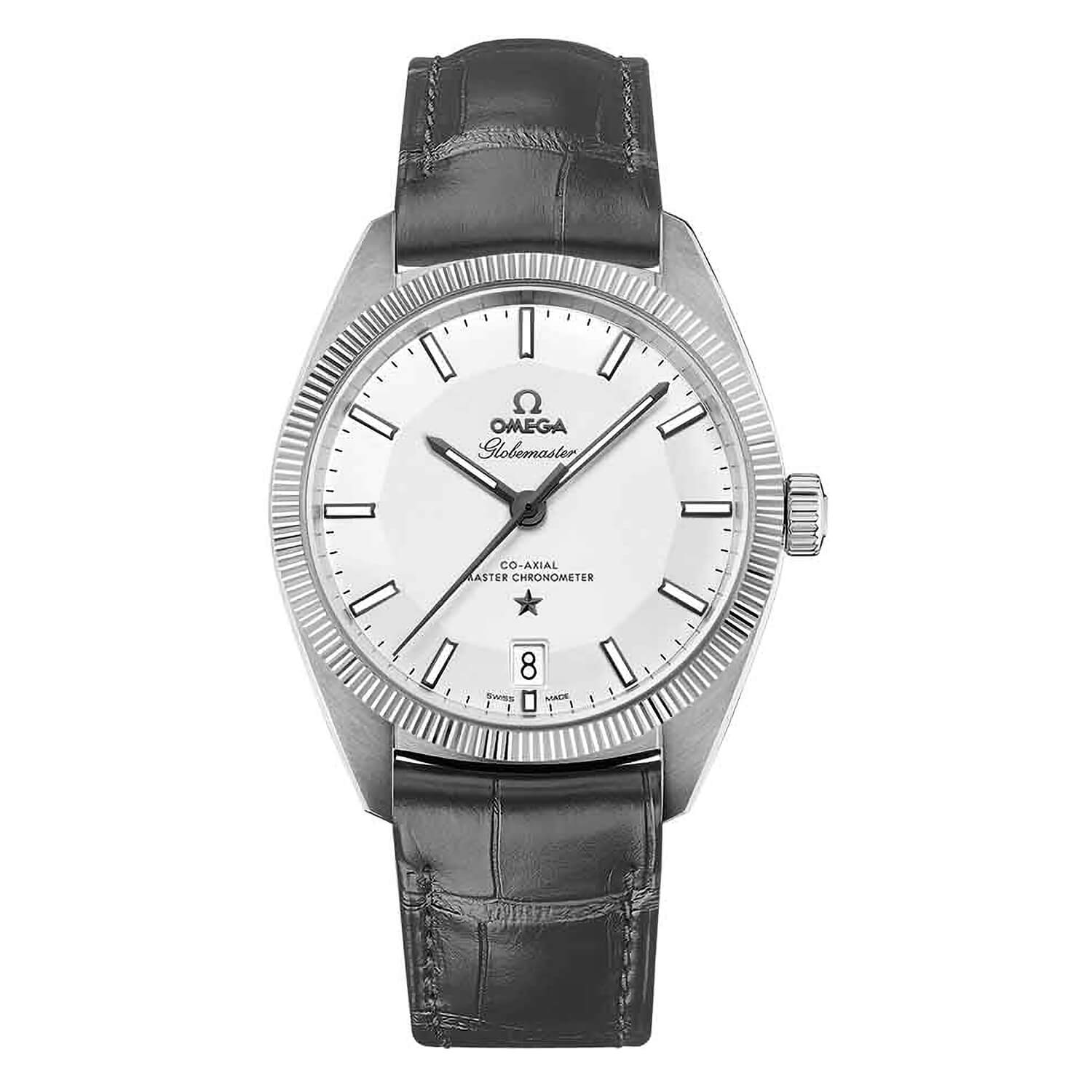 Omega Constellation Globemaster men's automatic grey leather strap watch