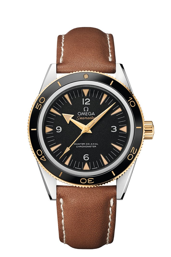 Omega Seamaster 300 men's automatic brown leather strap watch