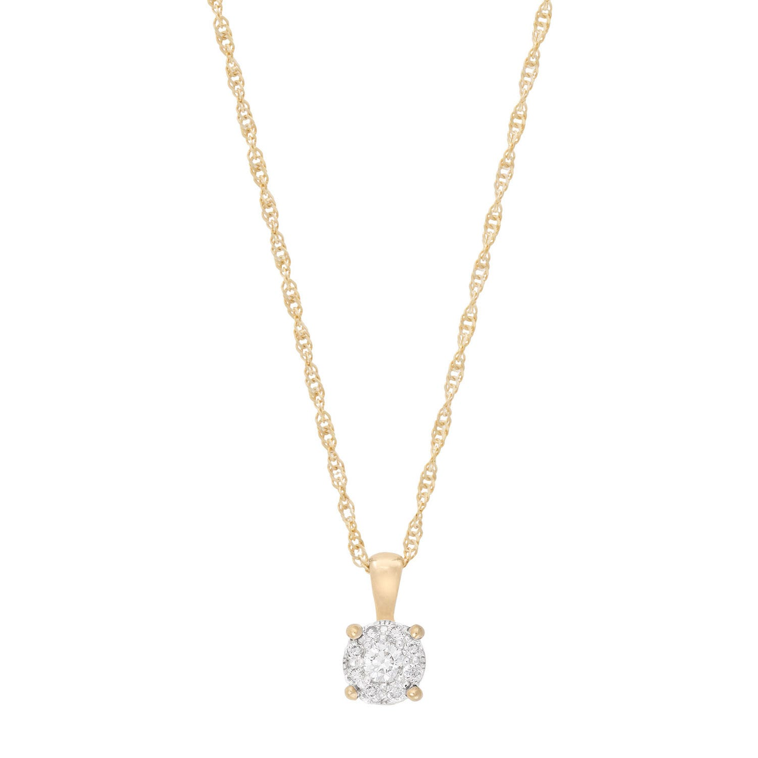 9ct gold and diamond Starburst Collection cluster pendant