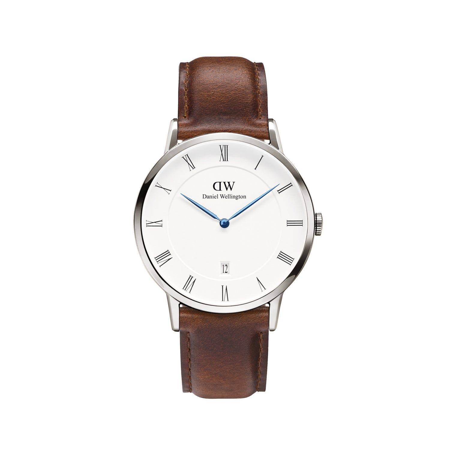 Daniel Wellington Dapper St. Mawes men's quartz stainless steel and brown leather strap watch
