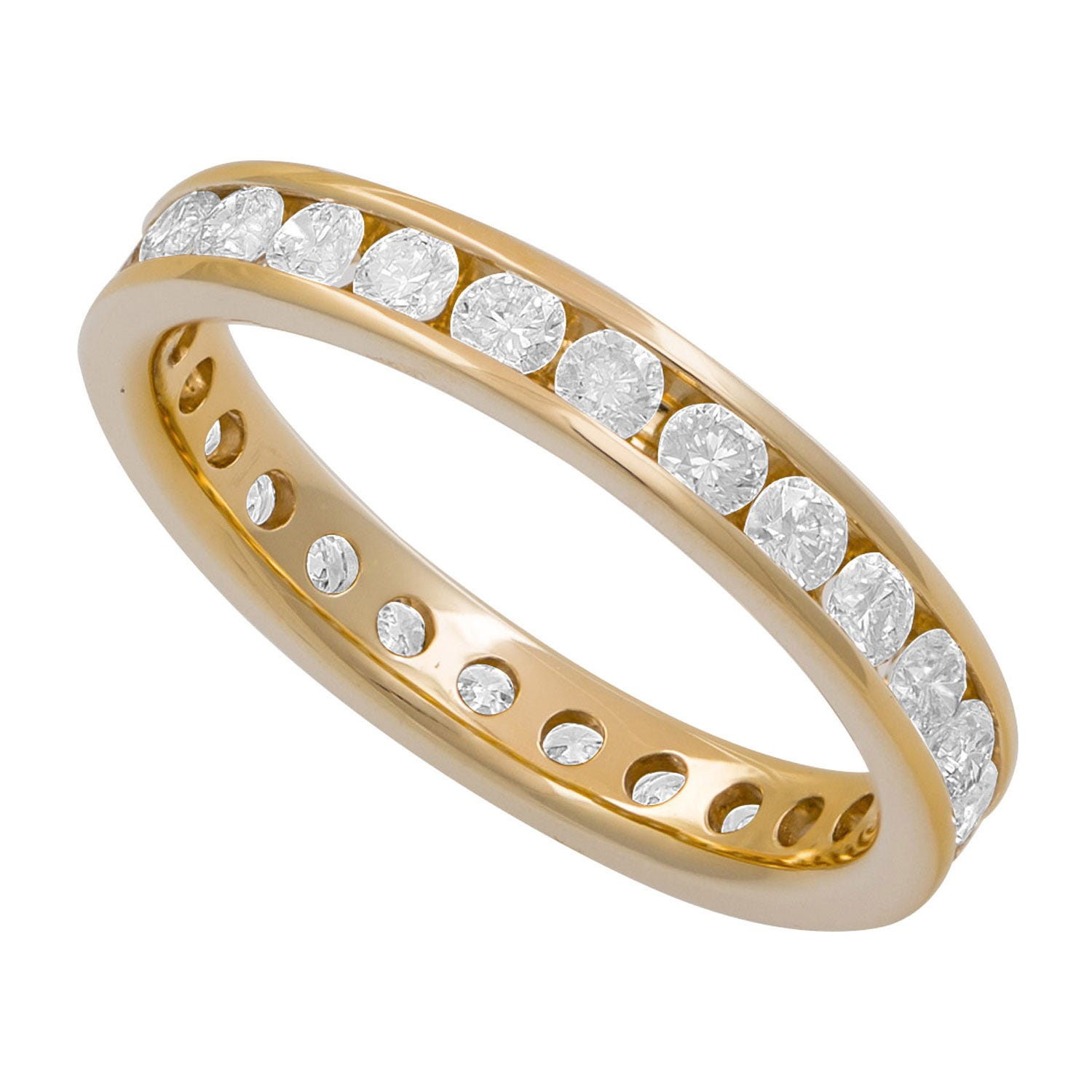 18ct gold ladies 1.00 carat diamond full eternity channel-set ring