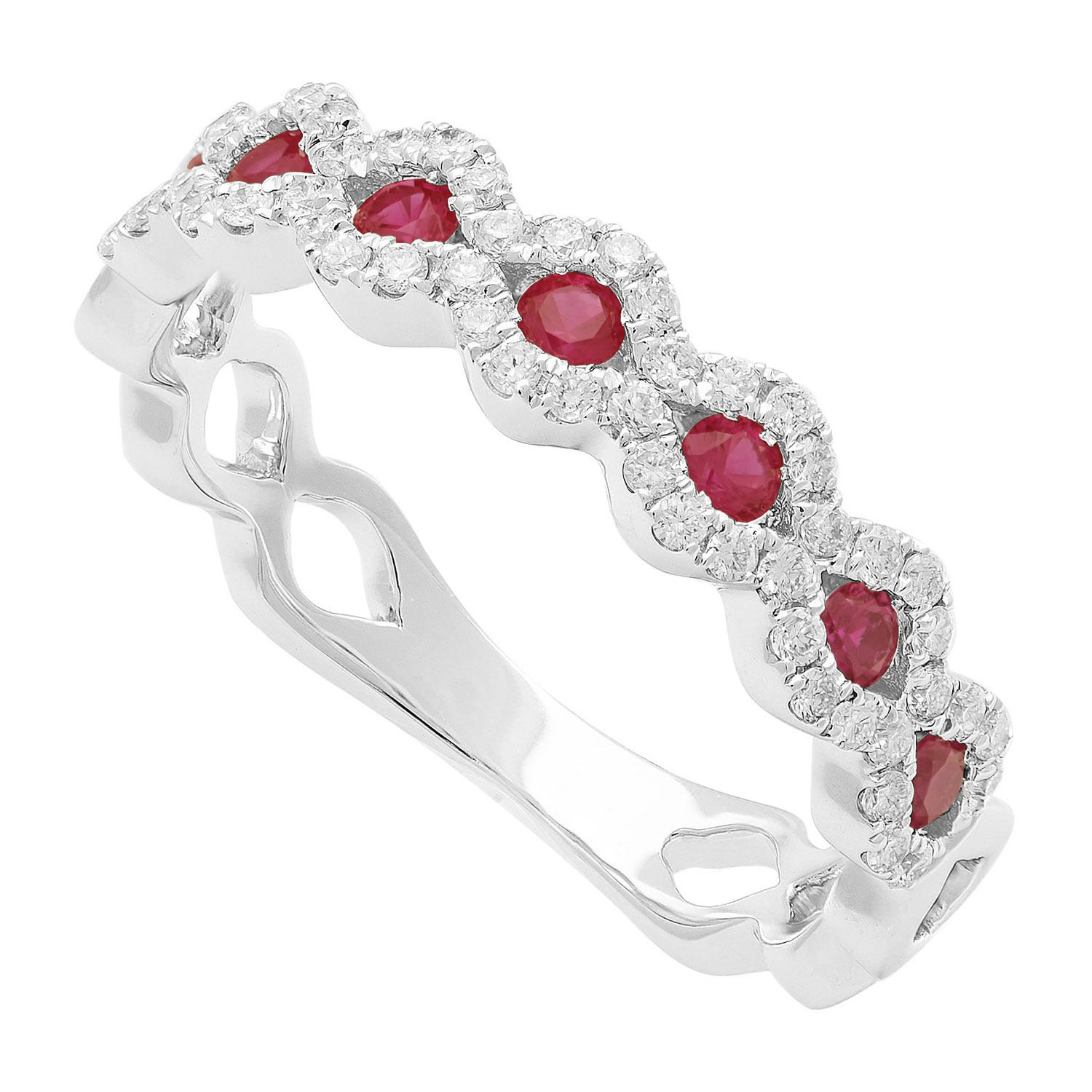 18ct white gold ladies ruby and 0.27 carat diamond wave ring