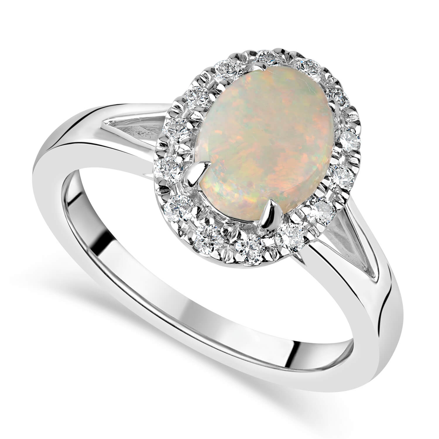 9ct White Gold 0.15ct Diamond Halo & Opal Ring