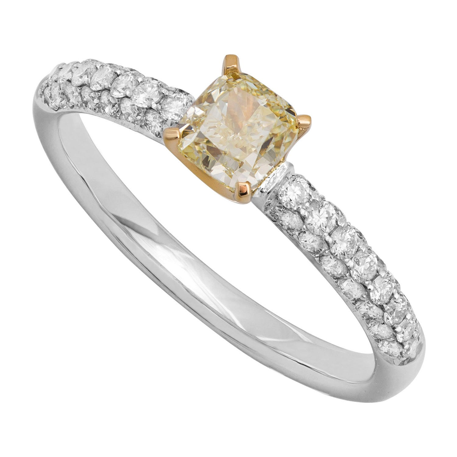 18ct white gold 0.85 carat cushion cut yellow diamond shoulder-set ring