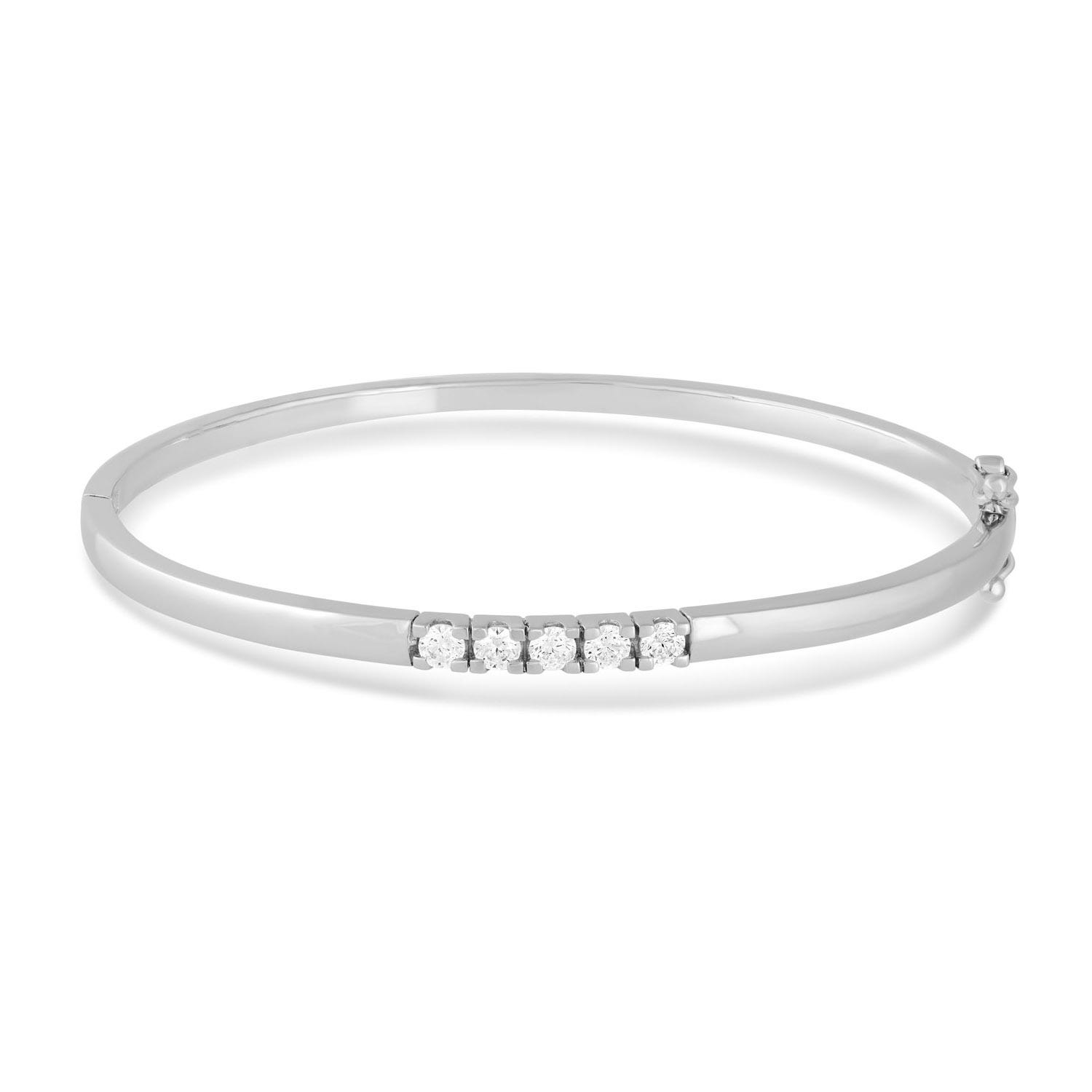 Silver cubic zirconia channel-set bangle