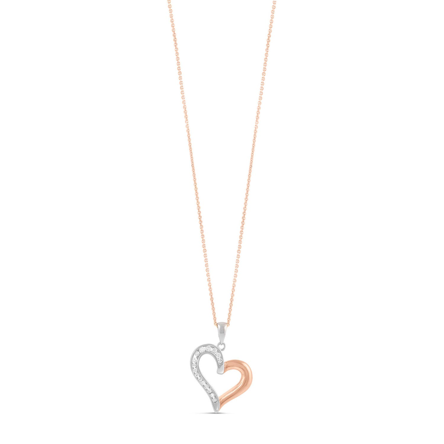 Silver and rose gold-plated large heart pendant