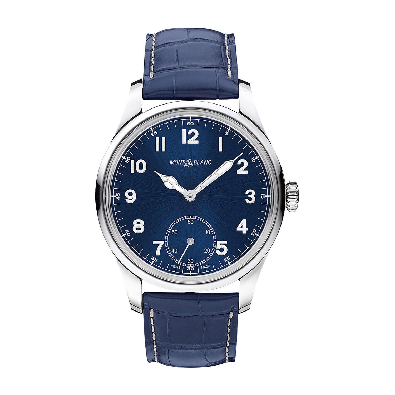 Montblanc 1858 Small Seconds Automatic men's blue leather strap watch