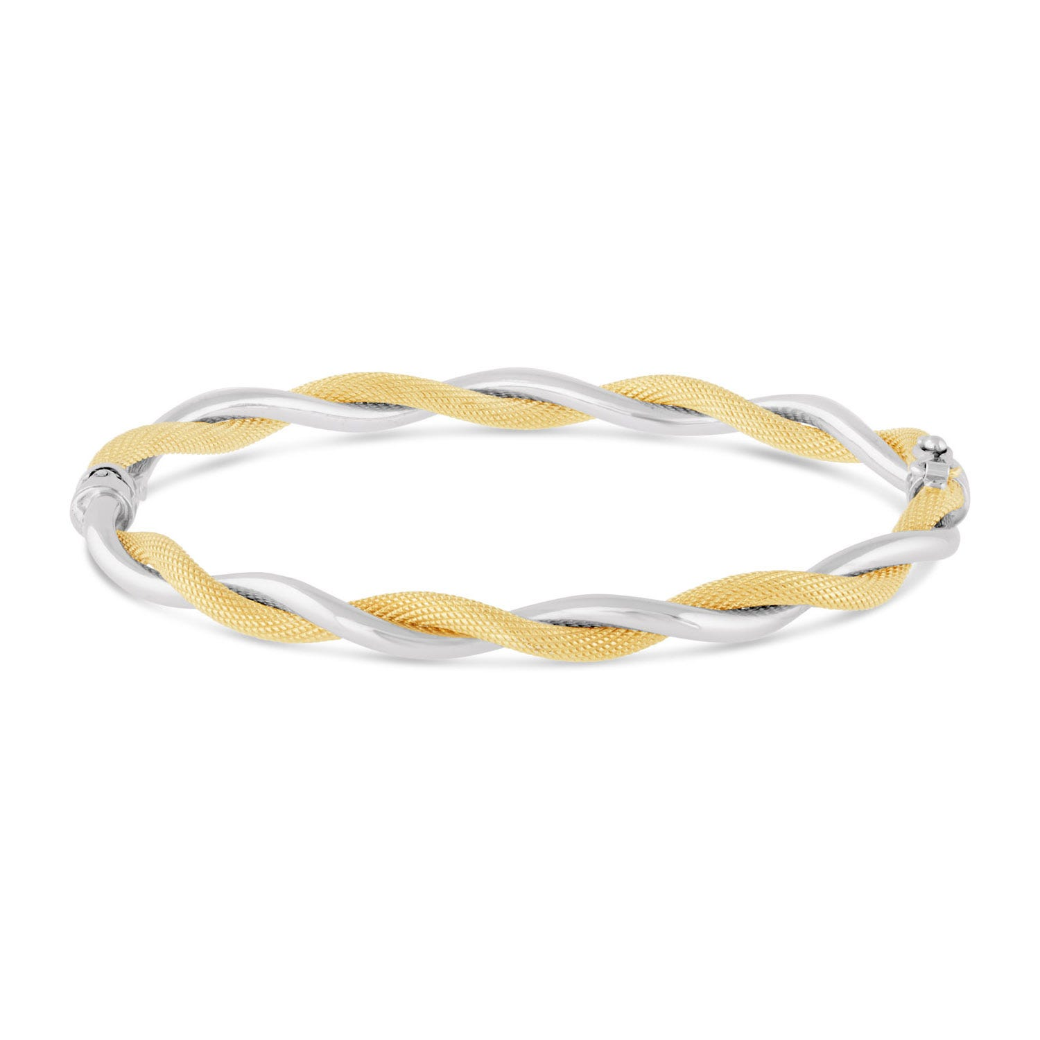 9ct two colour gold twist bangle