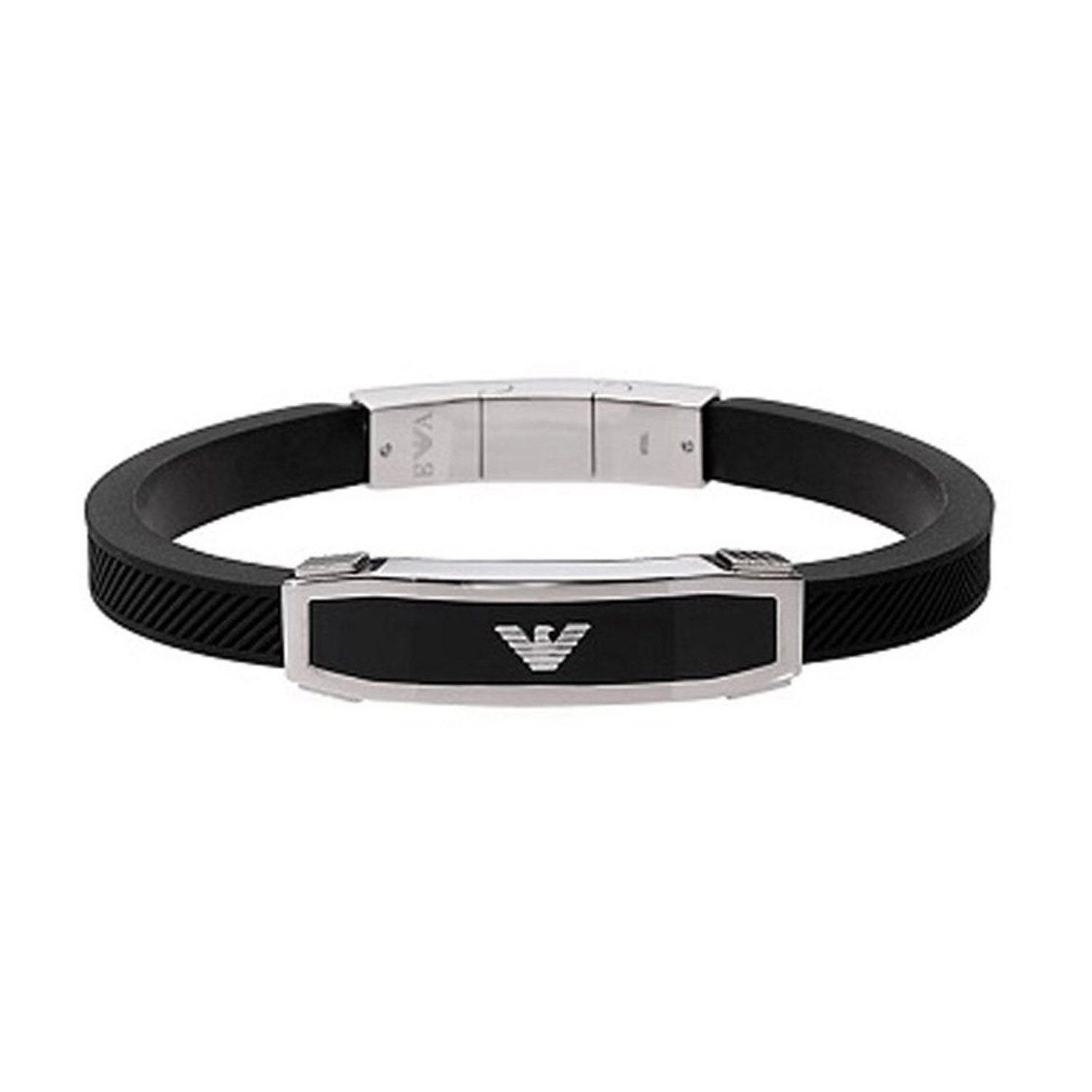 Emporio Armani Men's Stainless Steel And Black Rubber Bracelet