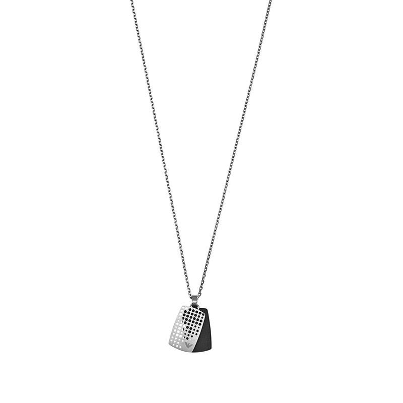 Men's Emporio Armani Signature steel punchhole dog tag necklace