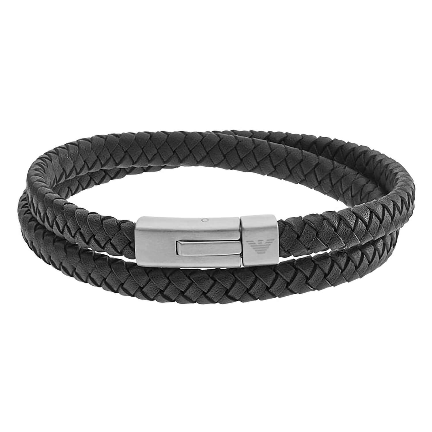 Men's Emporio Armani Signature leather and stainless steel wrap bracelet