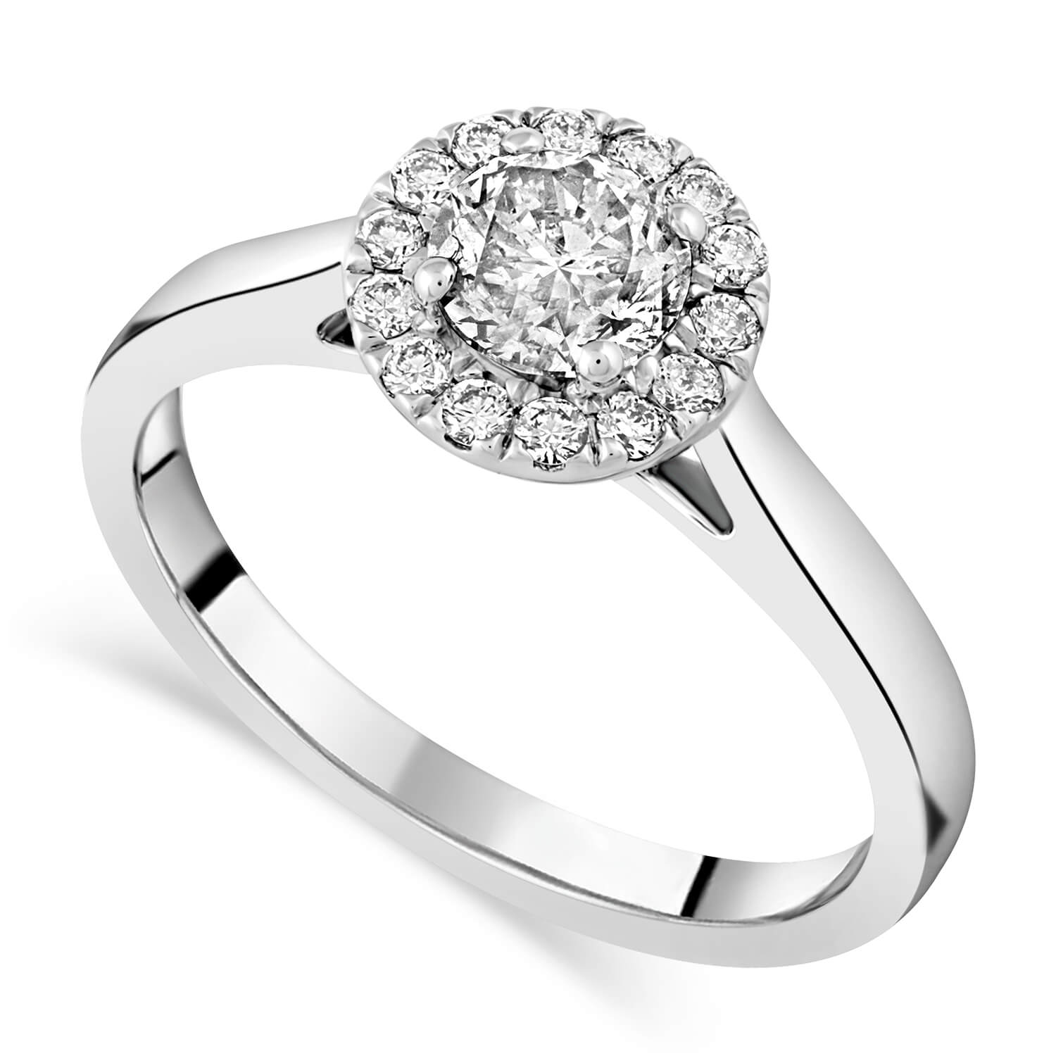 Timeless Diamonds Platinum 0.80 carat diamond halo engagement ring