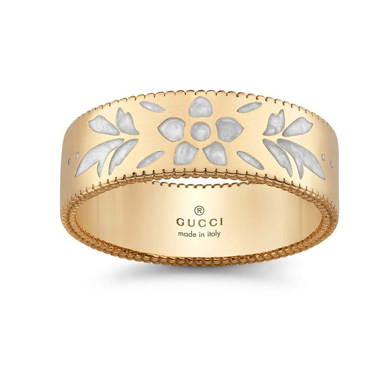 Gucci Icon Blossom 18ct gold and enamel ring