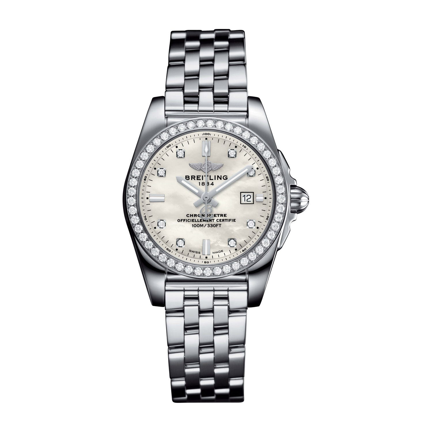 Breitling Galactic 29 Ladies Mother of Pearl Diamond Dot Bracelet Watch